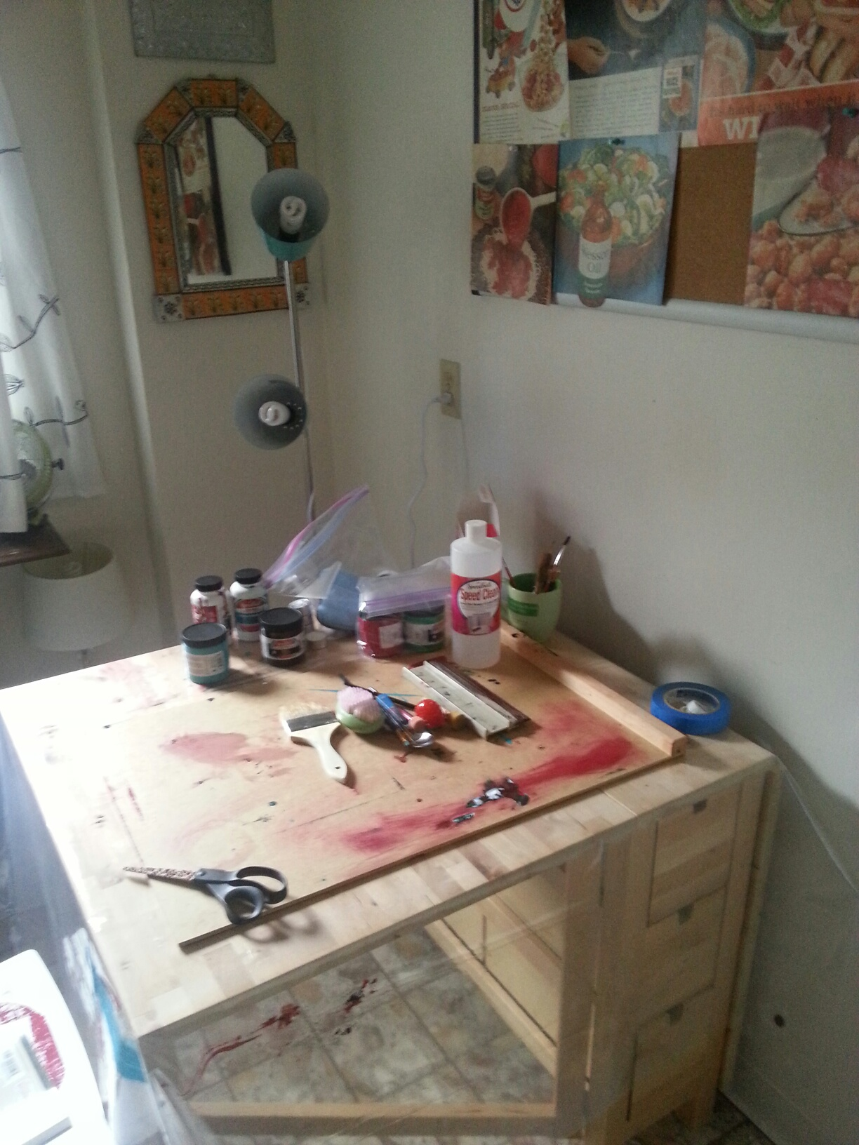 Kitchen Table Workspace Clutter